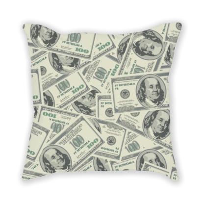 Almofada decorativa com estampa de dolar