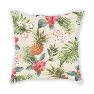 almofada decorativa com estampa tropical flowers