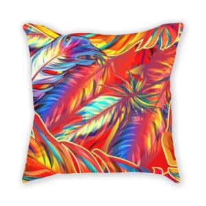 almofada decorativa com estampa de vegetação colorida