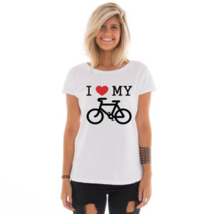 Camiseta feminina com estampa I love my bike