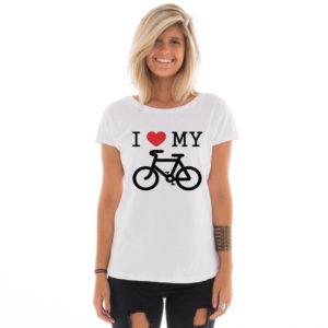 Camiseta feminina com estampa I love my bike
