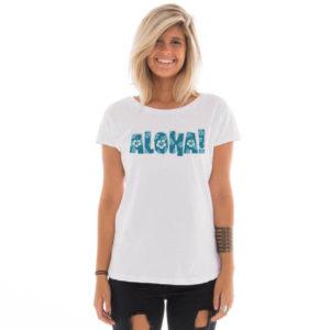 Camiseta feminina com estampa Aloha