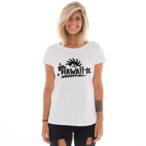 Camiseta feminina com estampa do Hawaii