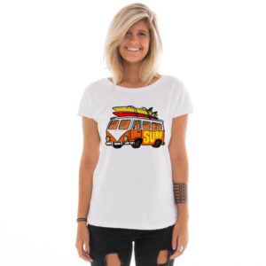 Camiseta feminina com estampa Kombi do surf