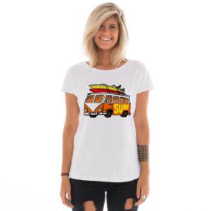 Camiseta feminina com estampa Kombi do surf