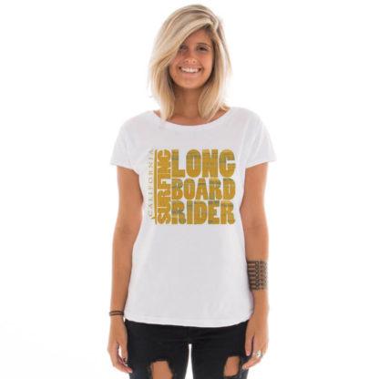 Camiseta feminina com estampa Longboard