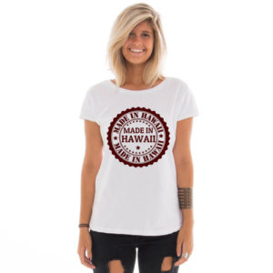 Camiseta feminina com estampa Made in Hawaii