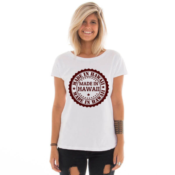 Camiseta feminina com estampa Made in Hawaii