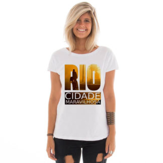 Camiseta feminina com estampa Rio de Janeiro