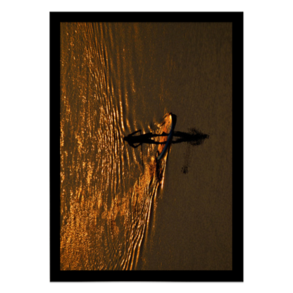 quadro decorativo stand up paddle na golden hour